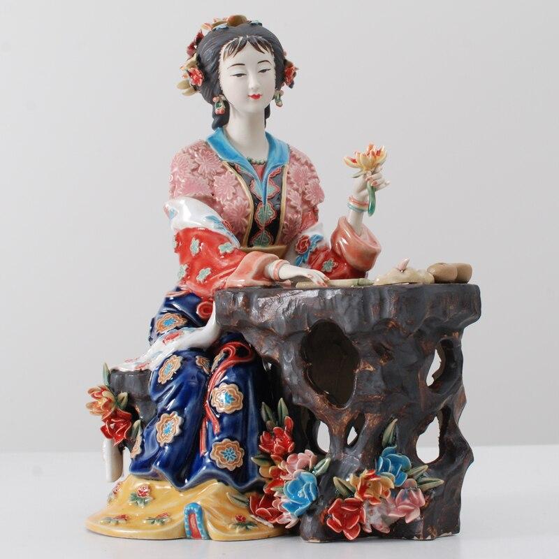 Classical Painted Art Female Figure Statue Ceramic Antique Chinese Angels Porcelain Figurines Figurative Home Decorations L3391