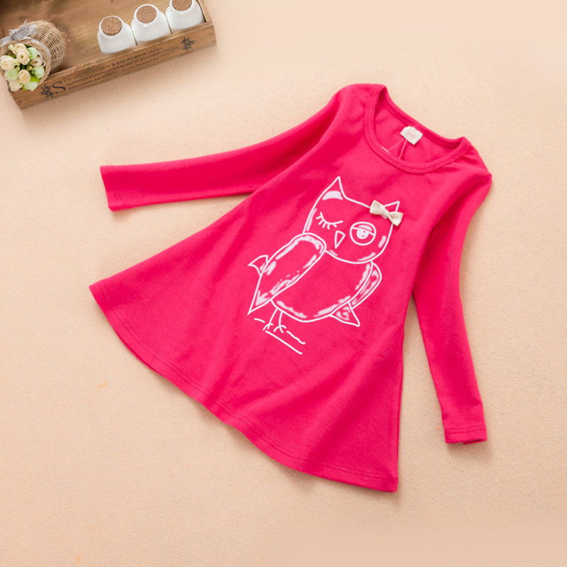 Princess Girls Dress 2016 New Fashion Owl Print Children Long Sleeve Cartoon Baby Girl Cotton Party Dresses For Kids Clothes