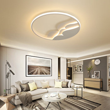 Round creative postmodern led ceiling light  living room bedroom study white home decoration remote control dimming ceiling lamp