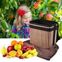 Large Basket Fruit/Vegetable Harvest Picking Apron Collapsible Bamboo Bucket For Farmer For Home Storage Supplies