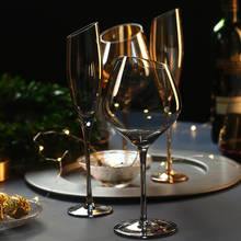 Creative Crystal Glass Champagne Flutes Electroplated Amber smoke gray wine glass Household goblet wedding Wine Glasses Drinkwar