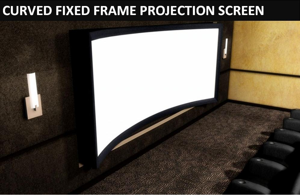 2019 F3HWAW 16:9 HDTV Sound Acoustic 4K Curved Fixed Frame Home Theater  Projector Projection Screen White Woven Acoustic Transparent From
