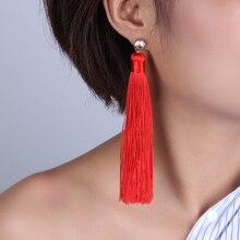 Fashion CZ Bohemian Long Tassel Earrings White Red Blue Black Silk Fabric Drop Dangle Earrings For Women 2019 Jewelry promotion 9pcs full set cot baby bed linen 100