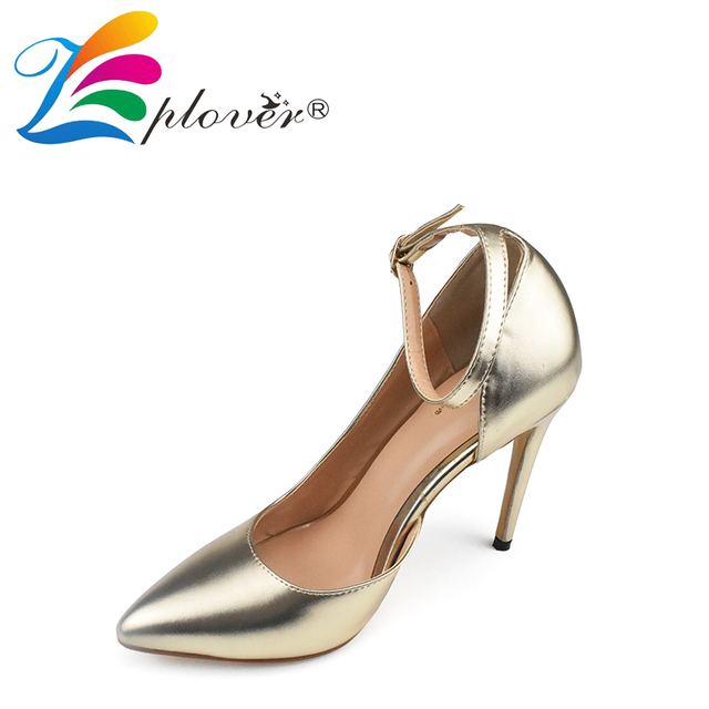 Zplover 2017 New Fashion Women Shoes Sexy Pointed Toe High Heel Shoes Gold Thin Heels Pumps Buckle Strap Ladies Wedding Shoes