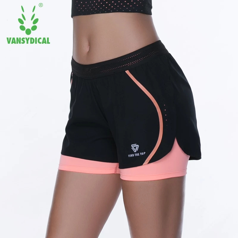 Women's 2 In 1 Sports Gym Yoga Shorts Quick Dry Fitness Running Shorts Training Exercise Workout Jogging Shorts With Lining