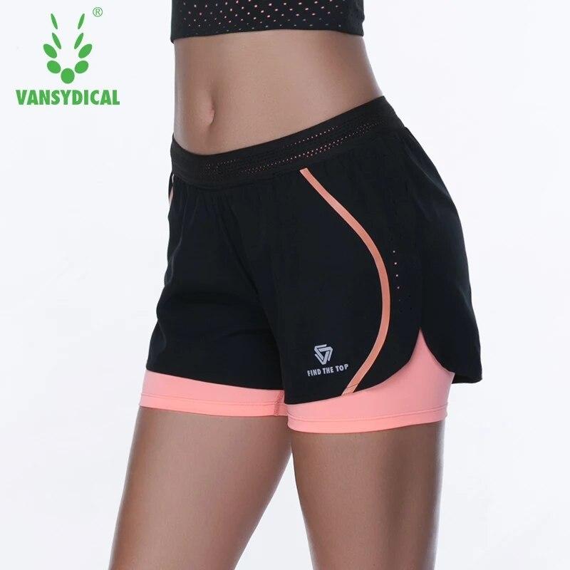 ①  Vansydical 2 в 1 Спортивные шорты для йоги женские дышащие быстросохнущие фитнес шорты для бега трен ✔