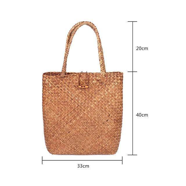 Hand Woven Large Rattan Straw Bag Flower Basket Storage Tote Female Bags Travel Handbag Shopping Braided Hand Bag For Women Girl 5
