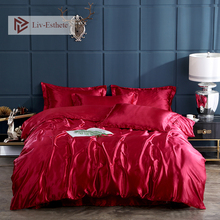 Liv-Esthete Luxury Wine Red Satin Silk Bedding Set Silky Duvet Cover Flat Sheet Pillowcase Double Queen King Bed Wholesale