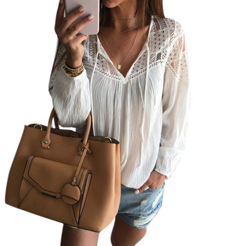 Black Friday VOT7 vestitiy WWomen Long Sleeve Chiffon Lace Crochet Blouse Shirt Tops lady Broadclo th cloth,Aug 10 th