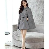 Women Classical England Style Wool Blends Coat Batwing Sleeve Plaid Coat Graceful Big Size Cloak Wool Blends Coat