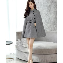 Women Vintage England Wool Blends Cape Coat Elegant Batwing Sleeve Plaid Big Size Cloak Graceful Belt