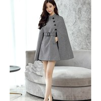 Women Vintage England Wool Blends Cape Coat Elegant Batwing Sleeve Plaid Coat Big Size Cloak Graceful Belt Wool Blends Coat