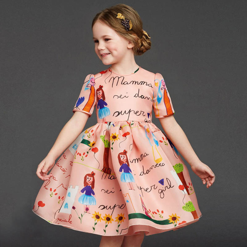 New 2015 designer girl autumn&winter style short sleeve cotton cartoon dress kids warm clothes baby children princess dresses new 2016 designer girl autumn