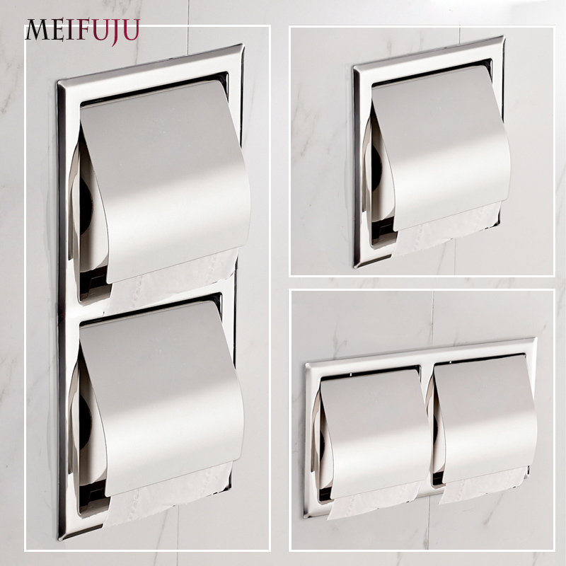 Recessed Toilet Paper Support <font><b>sus</b></font> <font><b>304</b></font> Stainless Steel Toilet Paper Holder Wall Roll Holders Tissue Box Cover Toilet Roll Holder image