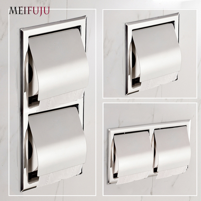 Recessed Toilet Paper Support Sus 304 Stainless Steel Holder Wall Roll Holders Tissue Box