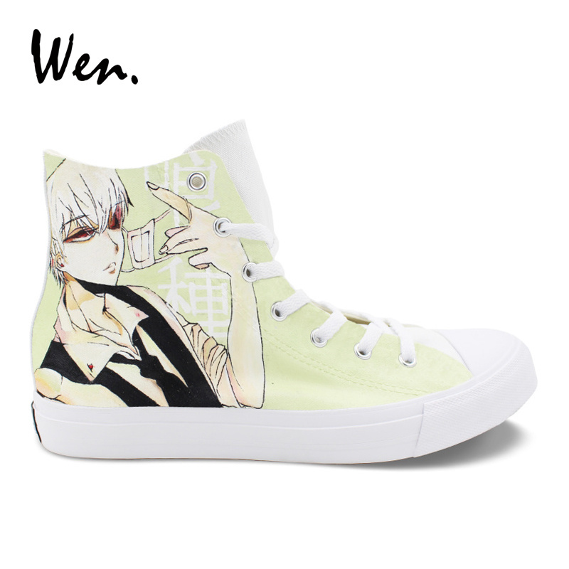 Wen Anime Design Hand Painted Canvas Shoes Tokyo Ghouls White High Top Sneakers Skateboard Unisex Athletic Laced Shoes wen hand painted red canvas shoes design diabolik lovers high top anime sneakers skateboard unisex shoes lovers plimsolls