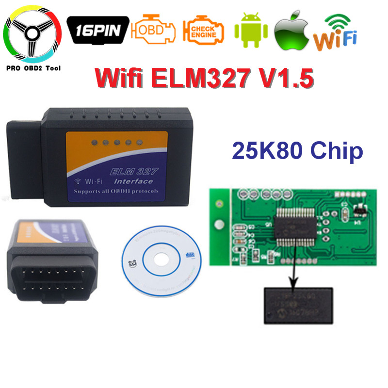 ELM327 WI-FI Full chip 25k80 V1.5 OBD2 OBDII Auto Diagnostic Scanner Tool For Both Android/IOS elm-327-1.5 obd Free shipping