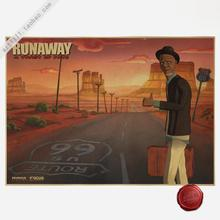ROUTER US 66 RUNAWAY A TWIST OF FATE Vintage Poster Retro art Wall home Decoration 30X42 CM(China)