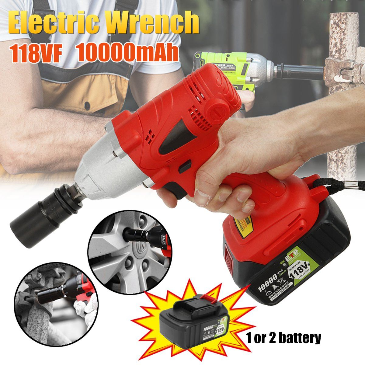 320N.M Max Torque Electric Impact Wrench 1/2  Cordless Socket Wrench Drill Screwdriver 10000mAh 118VF Battery Installation Tool320N.M Max Torque Electric Impact Wrench 1/2  Cordless Socket Wrench Drill Screwdriver 10000mAh 118VF Battery Installation Tool