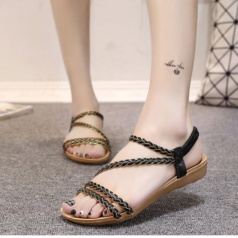 Summer Shoes Woman Gladiator Sandals Women Beach Flat Casual Shoes Black White phyanic 2017 gladiator sandals gold silver shoes woman summer platform wedges glitters creepers casual women shoes phy3323