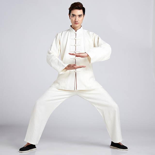 9f834b7ffb039 placeholder Novidade branco Dos Homens Chineses Tang Terno de Linho Tai Chi  Kung fu Wu Shu Uniforme