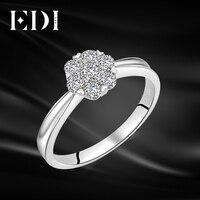 EDI Снежинка Halo 0,49 cttw натуральный бриллиант Настоящее 14 K 585 Белое золото обручальное кольцо для Женское Обручальное украшение