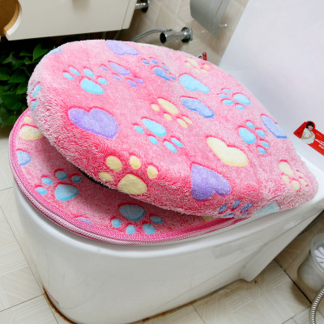 Luxury Toilet Seat Cover Thick Coral Velvet Zipper Two Piece Toilet Warmer  Bathroom Accessories WC