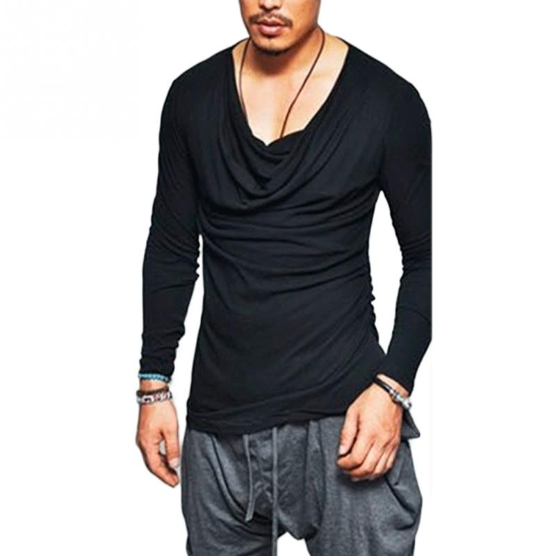a1f03c2095da Men Long Sleeve Solid Color V neck Fashion Slim Fit Tee Casual Irregular T  Shirts-in T-Shirts from Men s Clothing on Aliexpress.com