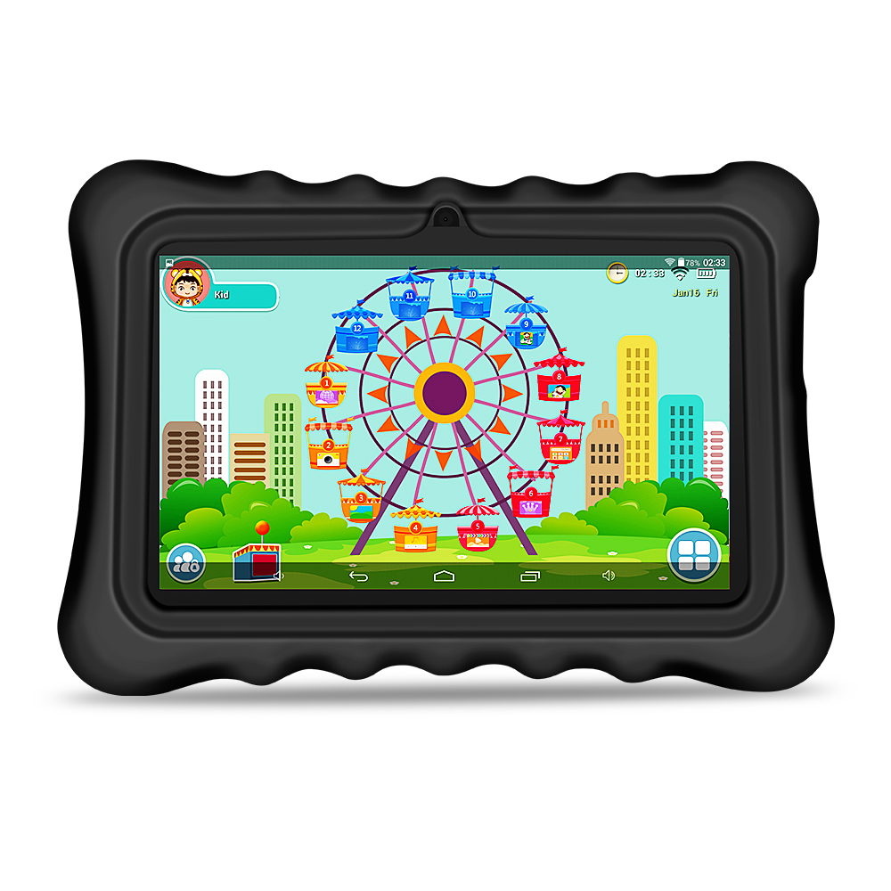 Yuntab 7 Q88H Android4.4 Tablet PC load Iwawa kid software 3D-Game bluetooth Educational Game Apps with Chic stand Case(black) image