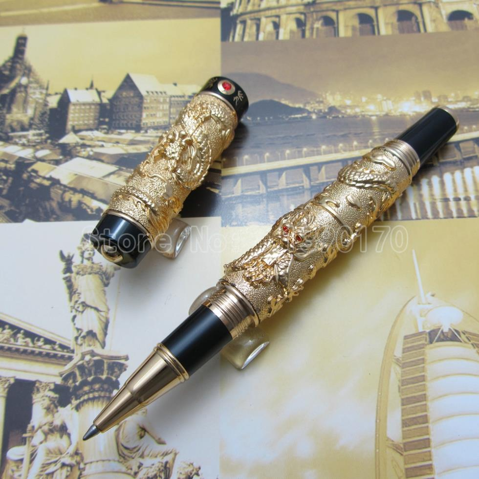 Jinhao Chinese double Dragons Playing With The Pearl Heavy pen Antique Silver Advanced Ballpoint Pen with Gift Box J92K3L jinhao ancient dragon playing pearl roller ball pen with jewelry on top with original box free shipping