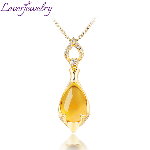 Water drop shape natural citrine 14k white gold pendant necklace water drop shape natural citrine 14k white gold pendant necklace charming diamond fine jewelry for wife aloadofball Image collections