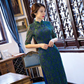 Hot Traditional Chinese Dress Winter Green Lace Cheongsam Vintage Evening Dress Half Sleeve Qipao Dress Chinese Clothing Store