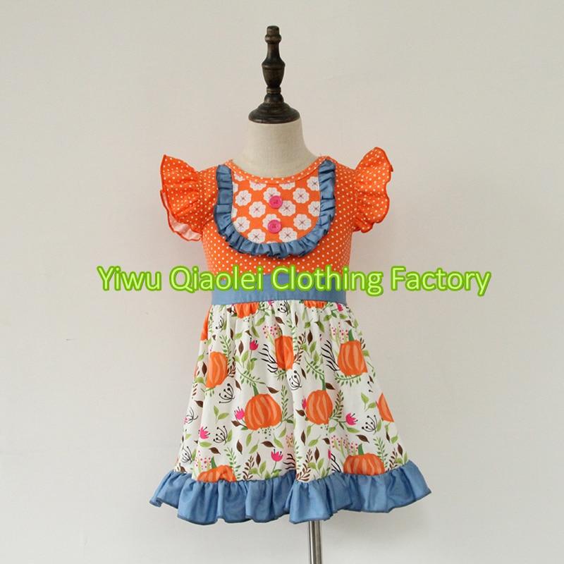 Boutique girls clothes halloween pumpkin dress set hot sell cotton high quality outfits pumpkin halloween plus size spaghetti strap dress