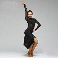 Fashion Ballroom Tassel Latin Dance One Piece Dress For Female Women Girl Professional Costume Competition Performance