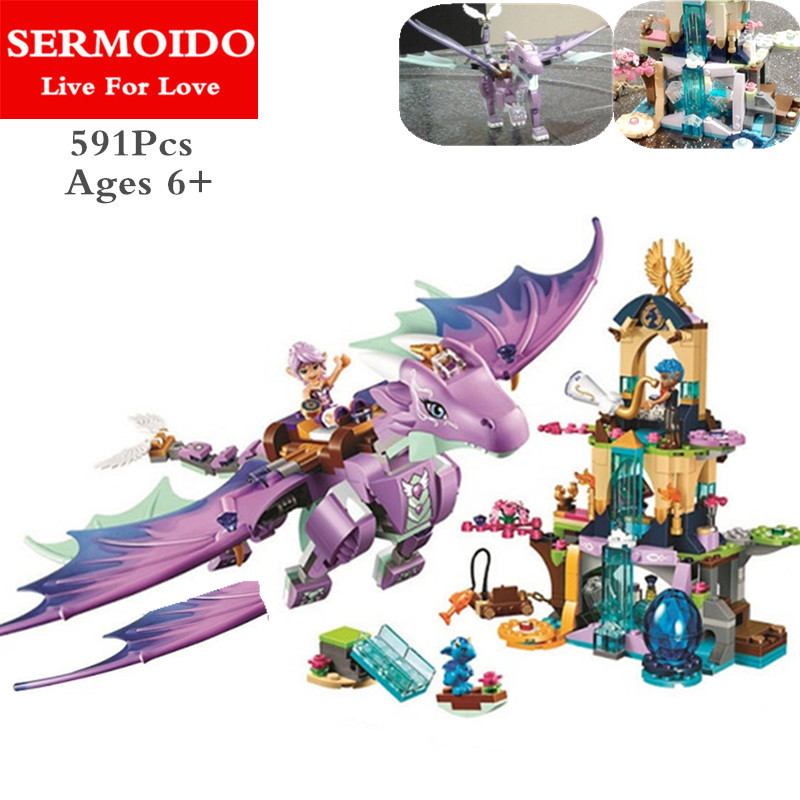 SERMOIDO Elves The Dragon Sanctuary Model Building Kit Blocks Brick 41178 Toys Children Toys Compatible With Lepine Kid Gift B55 10551 elves ragana s magic shadow castle building blocks bricks toys for children toys compatible with lego gift kid set girls
