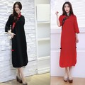 Spring folk style pure linen dress patchwork plus size cheongsam chi-pao chinese dress vestidos 2 colors