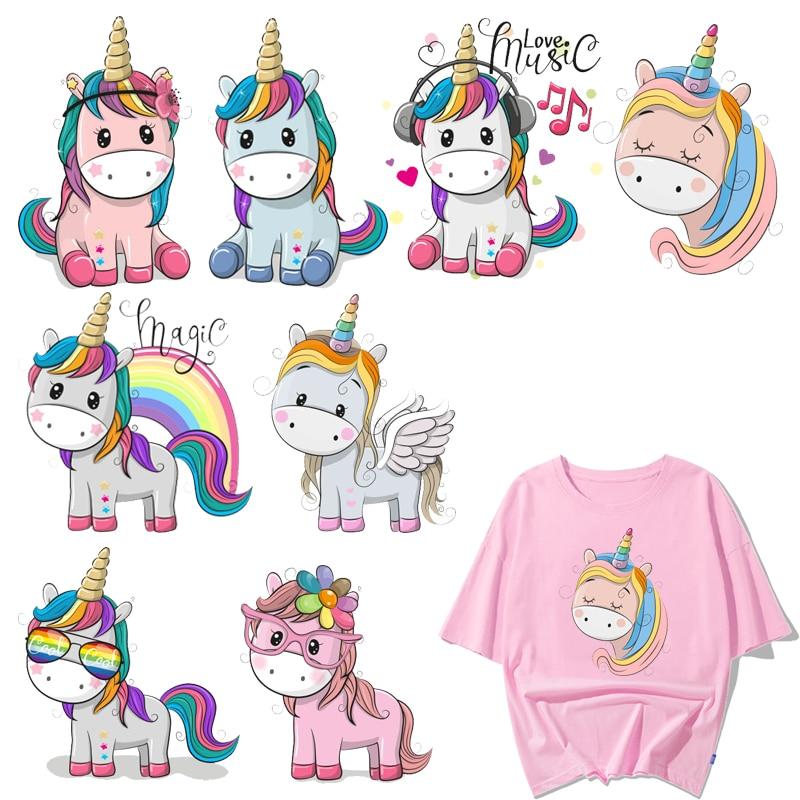Unicorn Patches T-Shirt Transfer Vinyl Stickers Clothing Diy Appliques Iron-On Kids Cartoon