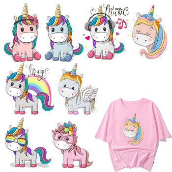 Cute Animal Patch Iron on Transfer Cartoon Unicorn Patches for Kids Clothing DIY T-shirt Appliques Heat Transfer Vinyl Stickers iron on cartoon anime patches for kids animal patch for clothing bag cute bat hero bear stickers diy heat transfers appliques h