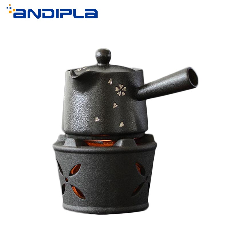 Vintage Black Coarse Pottery Candle Heating Tea Stove and