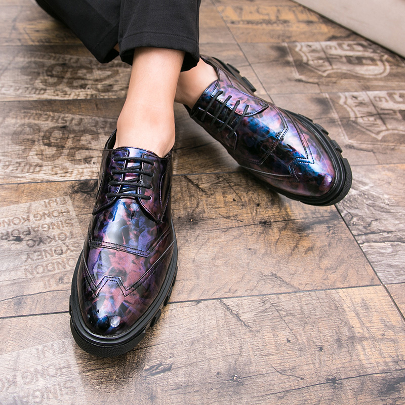 Shoes Formal Shoes Luxury Brand Shoes Men Print Flower Footwear Male Platform Camouflage Formal Leather Dress Flat Mixed Colors Fashion Oxford Shoe
