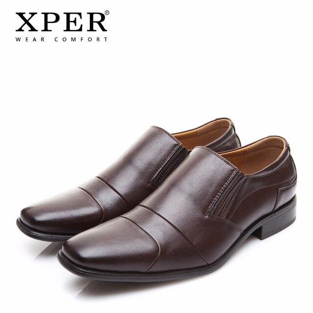 XPER חדש לגמרי גברים שמלת נעלי איש עסקים מוצקה להחליק על נעלי חתונה זכר נוח נעליים רשמיות שחור אביב # XYWD8640