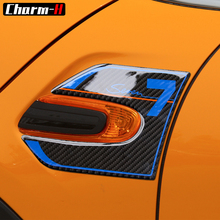 2pcs Car Styling Genuine Carbon Fibre Side Wing Scuttle Fender Decal Stickers Cover Trim for BMW Mini Cooper F55 F56 Accessories