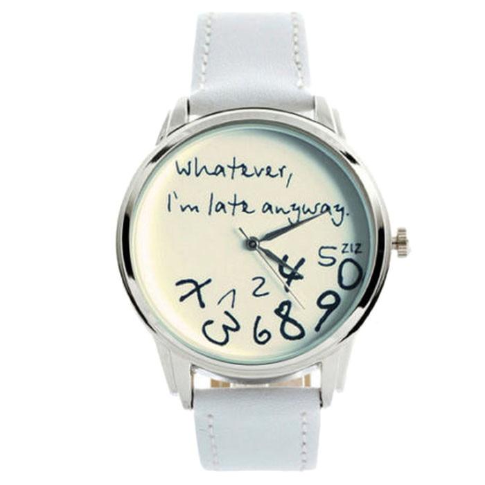 new-fashion-funny-women-men-analog-quartz-whateveri''m-late-anyway-wrist-watch-for-dropshipping