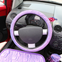 fashion silk car steering wheel cover warm winter steering wheel covers for car interior accessories
