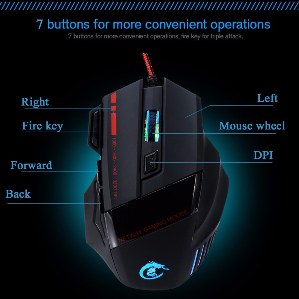 Product Name: 1 Pc Fashion 7-Color 7-Button Adjustable USB2.0 5500-DPI Wireless Optical Mouse for Home&Office&Computer&Game
