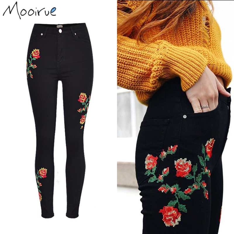 все цены на Mooirue Rose Embroidered Jeans High Waisted Cross Stitch Flower Black Pencil Denim Jeans Female Bottom онлайн
