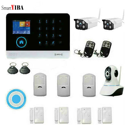 SmartYIBA Touch Screen Keypad LCD Display Wifi 3G IOS Android APP Home Burglar Security Alarm System Kit Outdoor Video IP Camera android ios app lcd smart dislay touch keypad home burglar security alarm