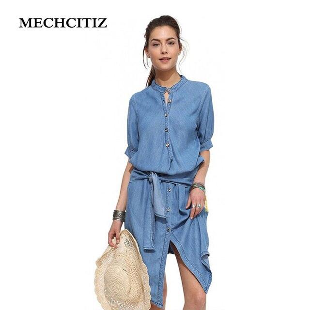 MECHCITIZ 2017 Spring Denim Dress Plus Size Half Sleeve Womens Dresses Fashion Trends Long Ladies