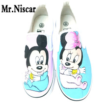 LEO Cartoon Patterned Low Top Slip-On Breathable Flat Shoe Anime Cute Mouse Hand Painted Casual Shoes Men Women Canvas Shoes