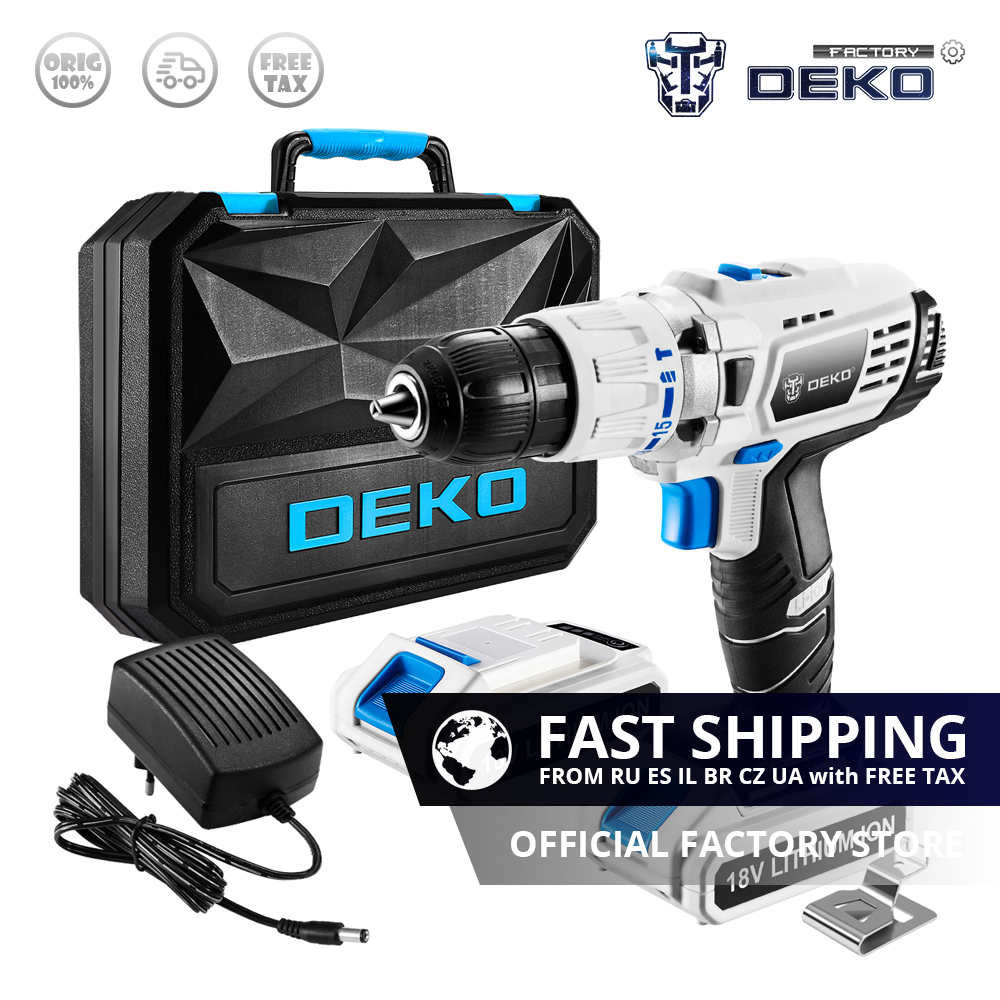 Factory Outlet DEKO GCD18DU3 18V Impact Cordless Drill Lithium Battery 50N m Electric Screwdriver DC Handheld